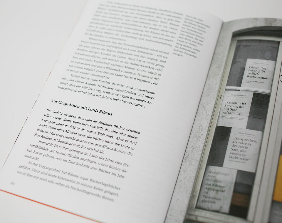 open spread of book containing text and an image with a window