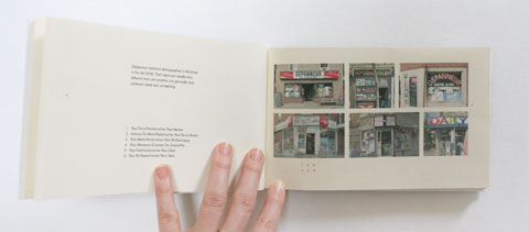 Page with photographs in Lettering depanneur signs book