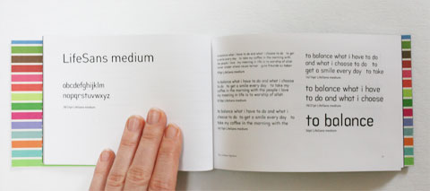 MediumSans sample in LifeSans typeface booklet