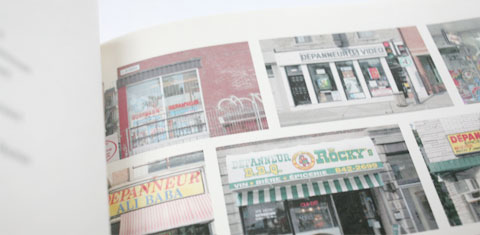 Page with detailed photographs in Lettering depanneur signs book