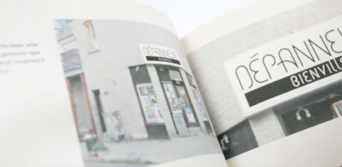 Detail of page with lettering in Lettering depanneur signs book