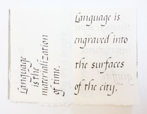 Page containing the word city' of Montreal italic calligraphy book