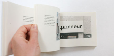 Flipping pages at washing machine inspired lettering page in Lettering depanneur signs book
