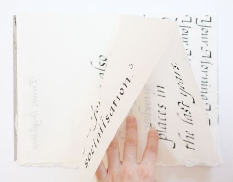 Page containing the word 'years' of Montreal italic calligraphy book