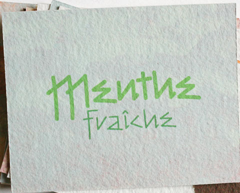 Card with the letters menthe fraiche
