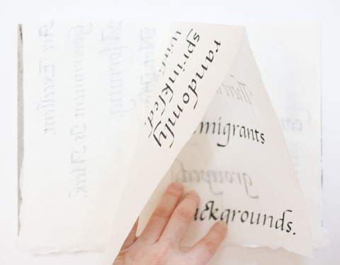 Page containing the word 'background' of Montreal italic calligraphy book