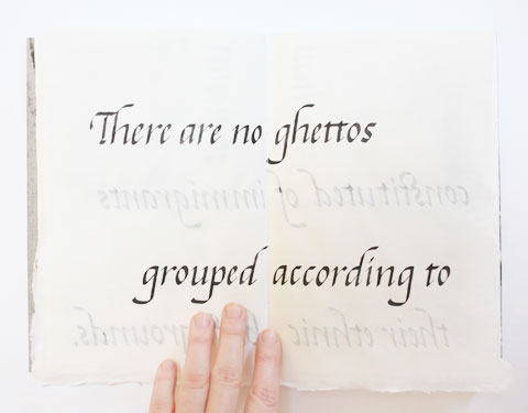 Page containing the word 'ghettos' of Montreal italic calligraphy book