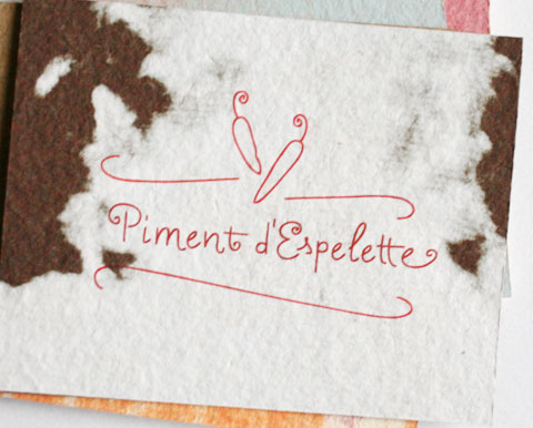 Card with the letters piment d'espelette