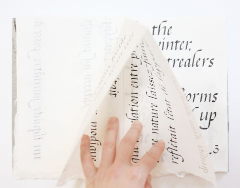 Page containing the word 'winter' of Montreal italic calligraphy book