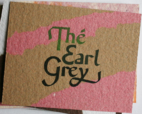 Card with the letters the earl grey