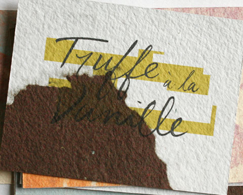 Card with the letters truffe a la vanille