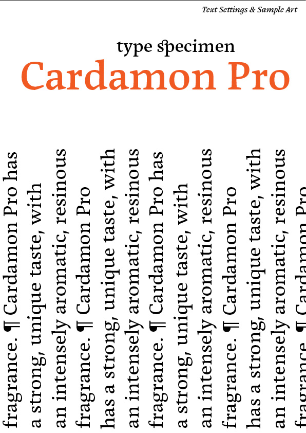 Cover page from Cardamon type specimen featuring the characteristics of the Cardamon typeface family
