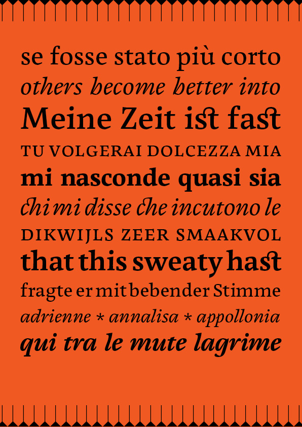 Page from Cardamon type specimen featuring the characteristics of the Cardamon typeface family