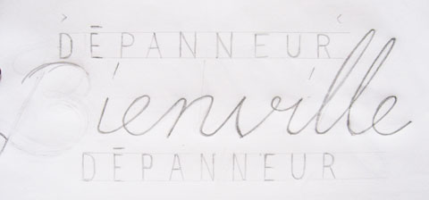 Handwriting sketch variation of a depanneur sign