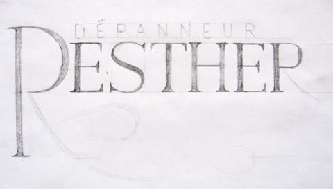 Lettering sketch of a depanneur sign named Resther
