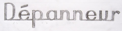 Lettering sketch variation of a depanneur sign with combined letters