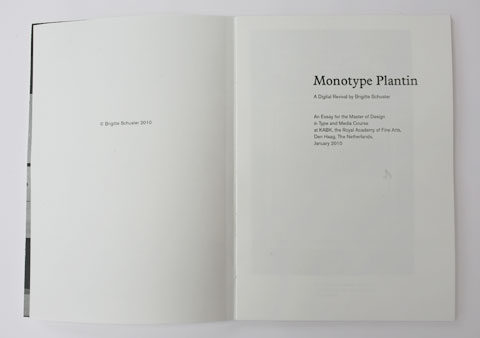 One of the Monotype Plantin revival book's contents page