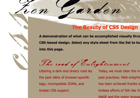 Header screenshoot of the project 'pigeon-thoughts design' for the  'CSS zengarden contest'