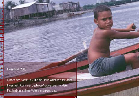 Screenshoot of the project 'Favela Ilha de Deus' featuring a picture of a young boy in a boat.