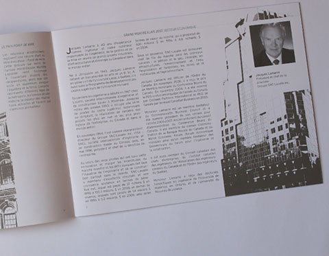 Brochure Great Montrealers – image of building and text