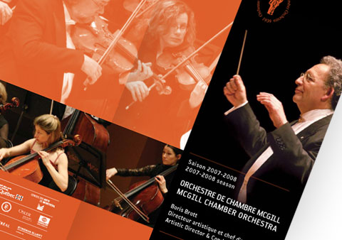 Cover of the McGill Chamber Orchestra brochure with musicians of the orchestra