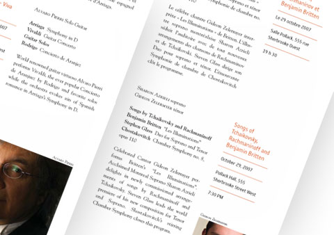 Inside pages of the McGill Chamber Orchestra brochure, red and black font color on white