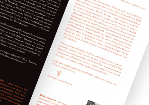 Inside pages with welcome message of the McGill Chamber Orchestra brochure, red and black font color on white